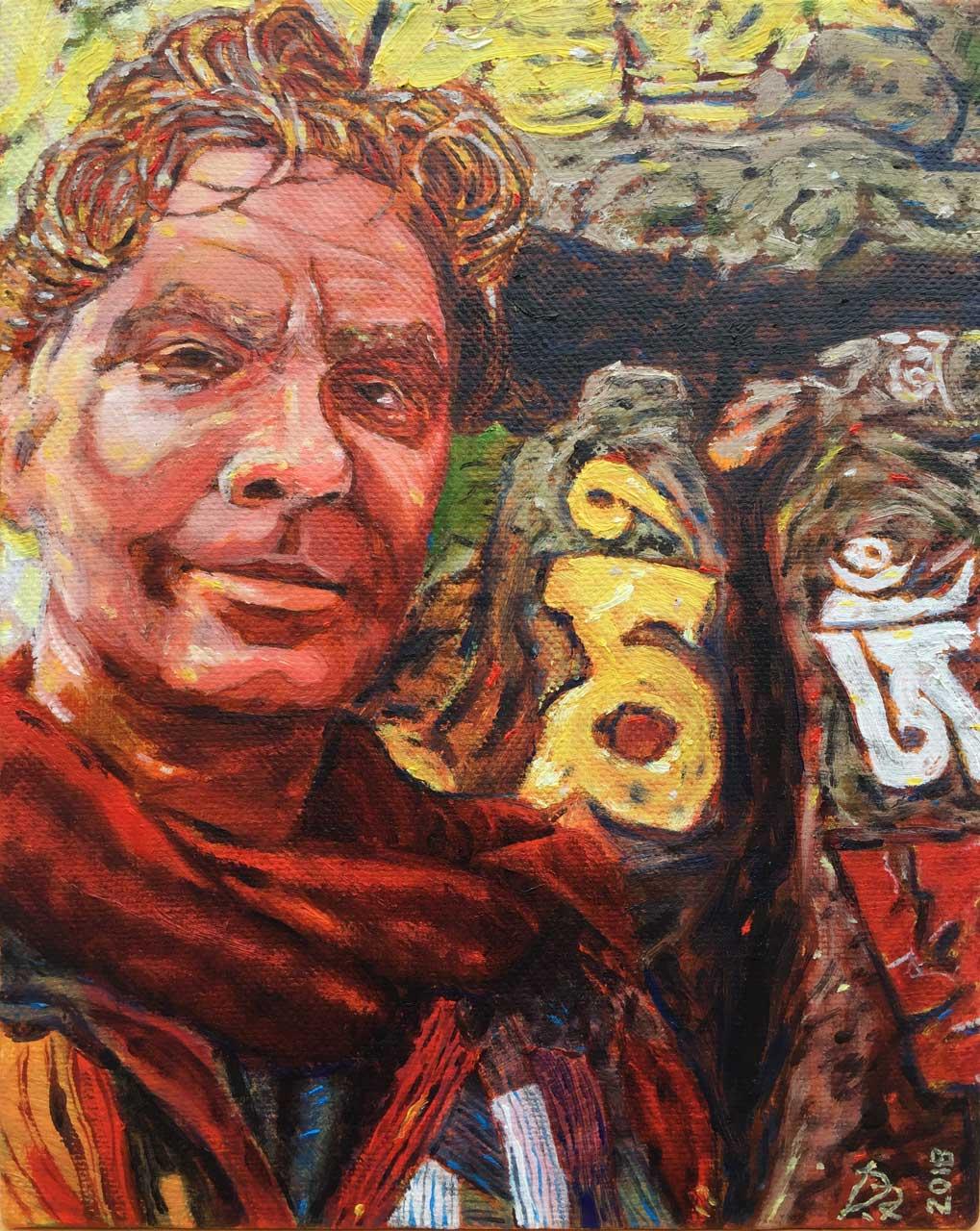 Dave Alber, Self-Portrait at Swayambunath, Kathmandu, Nepal